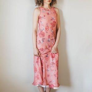 Vintage 90s Rose Pink Floral Sleeveless Dress